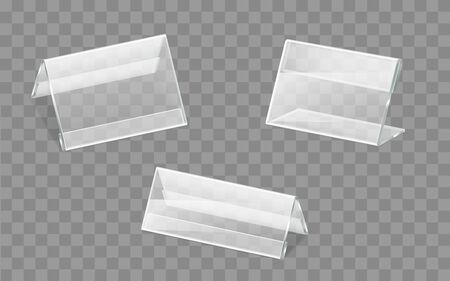 Business cards, advertising leaflets or flyers, promotional handouts, price tags and nameplates holders, made of transparent plastic or acrylic glass isolated 3d realistic vector illustrations set
