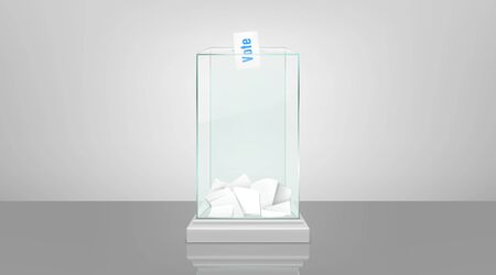 Glass ballot box filled with documents and voting envelope in slot, standing on glossy floor 3d realistic vector illustration. Fair and transparent social polling, democratic elections process concept Illustration