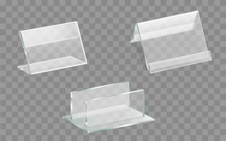 Single and double sided acrylic glass table displays or talkers, menu, ad leaflets, brochures plexiglass holders with side, top loading transparent frames isolated 3d realistic vector illustration set Ilustrace