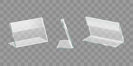 Menu, nameplate plastic or plexiglass table display, advertising materials, promo handouts acrylic holder front, side, back view 3d realistic vector objects set isolated on transparent background