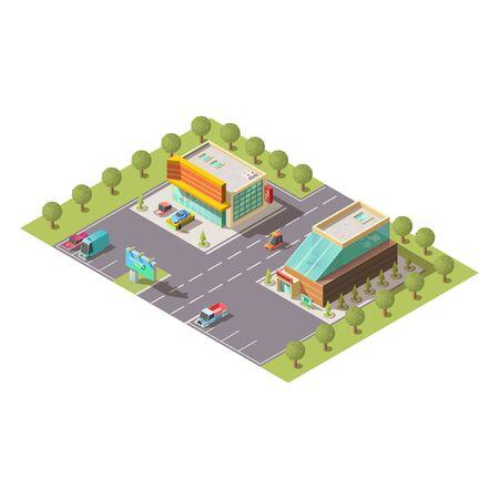 Neuwagenverkaufssalon, Pkw-Verkaufshändler-Ausstellungsraumgebäude außen und Parkplatz isoliert isometrischer Vektor. Moderne Stadtarchitektur, Geschäftsimmobilien, Kartografieelementillustration