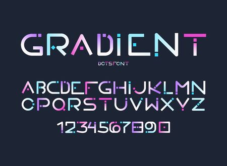 Complete english alphabet, full ABC with latin letters, arabic figures futuristic, digital looking, rounded shape with dots in gradient blue, pink and violet colors isolated vector illustration set