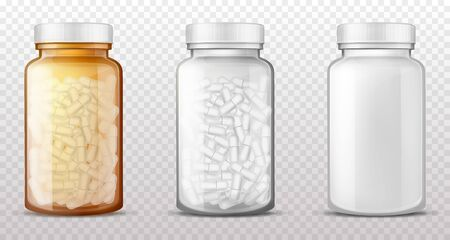 Transparent plastic, brown amber glass bottles for medicines, empty, full of pills or dragee vials closed with cap isolated 3d realistic vector illustrations. Pharmaceutical product packaging mockup