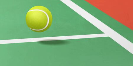 Tennis tournament, racket sport game competition or championship ad background template with new tennis ball flying under white service lines on artificial green court 3d realistic vector illustration