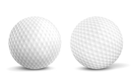 New, clean golf balls with aerodynamics dimples closeup, front view, 3d realistic vector illustrations isolated on white background with shadows. Golf tournament, sport equipment ad design element