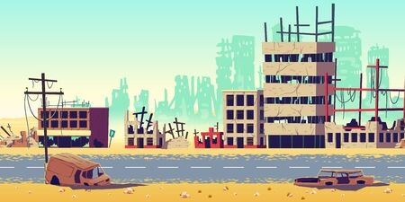 Destruction in war zone, natural disaster or cataclysm consequences, post-apocalyptic world cartoon vector concept. City ruins with destroyed, abandoned buildings, burned cars on streets illustration Illustration