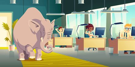 Ignoring elephant in room cartoon vector concept. Businesspeople, company employees, coworkers working at desks, overlooking, dont want discuss elephant in office illustration. Metaphorical idiom Stock Illustratie