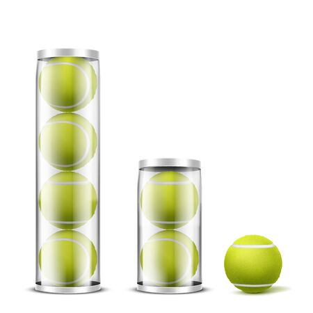 New, felt tennis balls in different amount, transparent plastic cans, containers with metallic lid 3d realistic vector objects set isolated on white background. Racket sport inventory packaging mockup