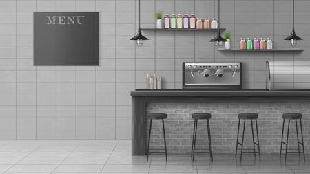 Cafe, coffee shop, confectionery empty interior with stools near bar counter desk, coffee machine, glass showcase for fresh pastry, bottles on shelves, chalkboard menu 3d realistic vector illustration