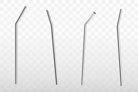 Metal, stainless steel, bendy drinking straw side, front, back view, 3d realistic vector object set isolated on transparent background. Reusable bar equipment, ecological kitchen utensil illustration
