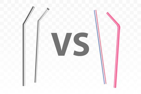 Reusable, metal drinking straws versus disposable, plastic concept. Ecological, stainless steel cocktail straws comparison to old, polluting environment utensil isolated, 3d realistic vector objects 写真素材 - 137861451