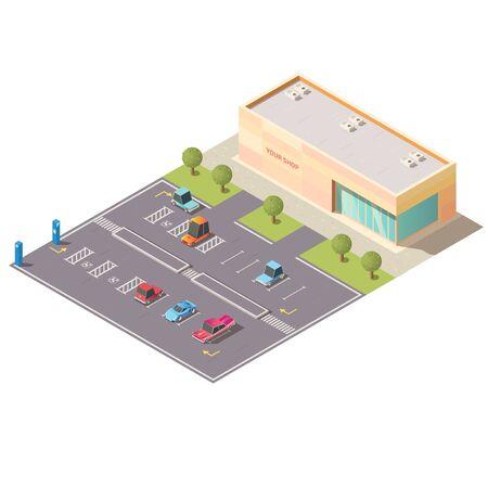 Centro comercial, área de estacionamiento de autos de supermercado con vehículos, yendo por la carretera, estacionados en lotes para personas discapacitadas cerca del edificio de la tienda aislado, vector isométrico. Ilustración de baja poli de infraestructura de transporte de la ciudad