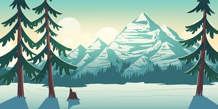 Wild northern nature, Canada or Alaska national park landscape with sun disk rising at morning from upon mountains range, pine forest at rocks foot, spruces in foreground cartoon vector illustration