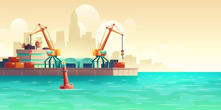 Metropolis cargo seaport with freight cranes on shore, loading, unloading containers, warehouse hangars, terminal control center building cartoon vector illustration. Maritime transport infrastructure  イラスト・ベクター素材