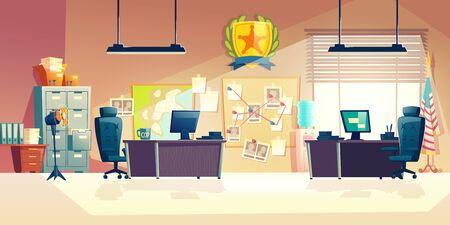 Poste de police ou département, intérieur de la salle du bureau d'enquête avec bureaux de travail des policiers, détectives, lieux de travail des agents spéciaux, mobilier de bureau, carte et tableau d'affichage illustration vectorielle de dessin animé