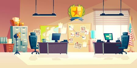 Police station or department, investigation bureau room interior with police officers work desks, detectives, special agents workplaces, office furniture, map and pin board cartoon vector illustration Illustration