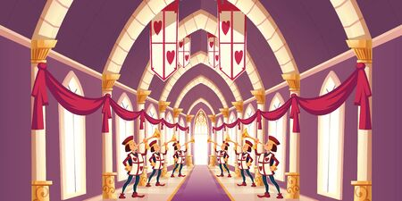 Royal ball, solemn ceremony in kings castle concept. Fairytale trumpeters with playing cards hearts symbols on capes, standing in long corridor, playing greeting march cartoon vector illustration