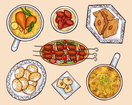 Oriental, eastern country national cuisine food, exotic culinary, arabian sweets and meat dishes isolated, cartoon vector set. Umm ali, basbousa, kahk, baklava, biryani, kebab on plates illustration  イラスト・ベクター素材