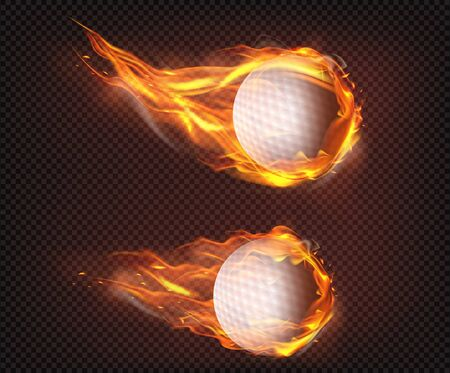 Two superheated golf balls flying, falling engulfed in flames, firing in air, isolated 3d realistic vector illustrations. Sport club logo, equipment store ad, golf tournament promo design element