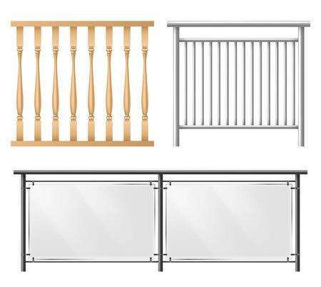 Barandillas de madera, metálicas, de vidrio, sección de valla para escaleras de casa, balcón de casa, valla de acera conjunto de vectores realistas 3d aislado sobre fondo blanco. Habitación, elementos de diseño de interiores de lugares públicos.