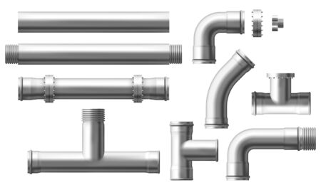 Stainless steel, metallic pipes, plumbing fittings. Water, fuel or gas supply system, oil refinery industry pipeline, house sewer bolted sections, parts isolated, 3d realistic vector illustration set Çizim