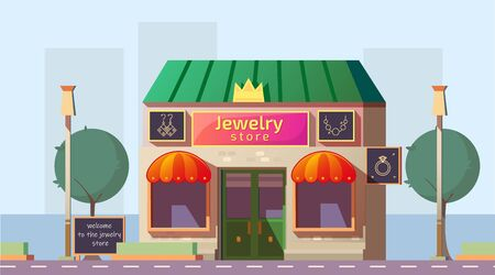 Jewelry store building with bright signboard, advertising banners on facade. Small local business property on roadside, city commercial real estate. Urban architecture cartoon vector illustration Ilustrace