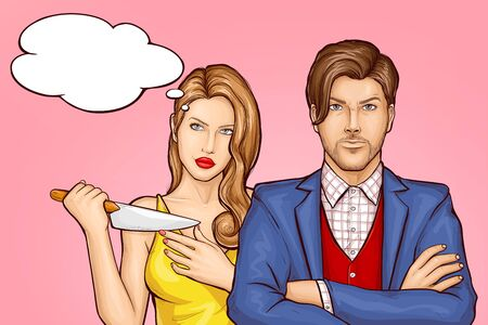 Killer wife with kitchen knife standing behind husband. Jealousy woman pondering, planning boyfriend murder. Lady dreaming, thinking about revenge for marriage betrayal pop art vector illustration