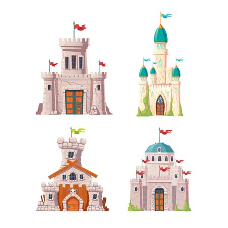 Fairytale castles, fantasy fortresses set. Medieval citadels with stone watchtowers, flags on spires, ivy growing on cracked walls. Abandoned stronghold ruins isolated, cartoon vector illustrations Ilustração Vetorial