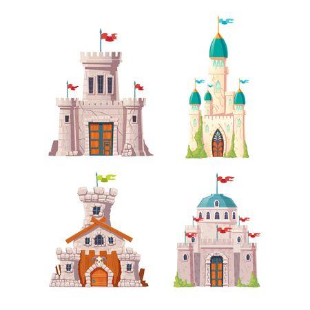 Märchenschlösser, Fantasiefestungen eingestellt. Mittelalterliche Zitadellen mit steinernen Wachtürmen, Fahnen auf Türmen, Efeu auf rissigen Wänden. Verlassene Festungsruinen isoliert, Cartoon-Vektor-Illustrationen Vektorgrafik