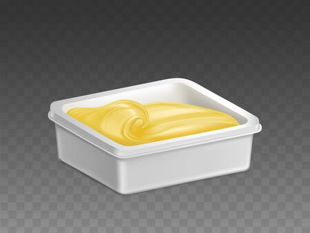 Butter, margarine in plastic container. Mayonnaise, melted cheese, ice-cream in white rectangular box mockup. Dairy food product, blank packaging template isolated, 3d realistic vector illustration