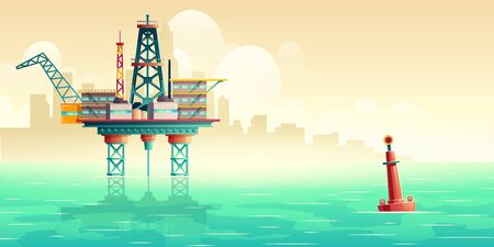 Oil platform in open sea. Oil extraction, fuel production industry offshore drilling rig in ocean with metropolis skyline, skyscrapers silhouettes in morning fog cartoon vector illustration, copyspace
