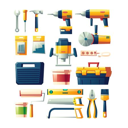Construction hand, power tools set. Electrical instruments, carpenter or builder equipment for building works and house repair cartoon vector illustrations collection isolated on white background