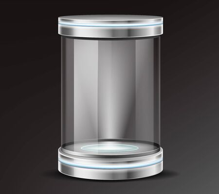 Empty glass cylinder capsule, transparent round showcase with neon illumination in metal base, lid. Safety container, product presentation podium, exhibit or museum display box 3d realistic vector