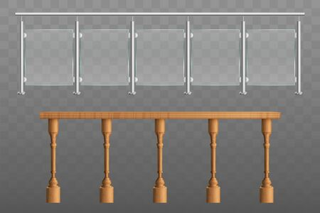 Metal, wooden handrails, banister or fencing sections set with steel pillars, glass panels, wood engraved balusters in balustrade 3d realistic vector illustrations isolated on transparent background