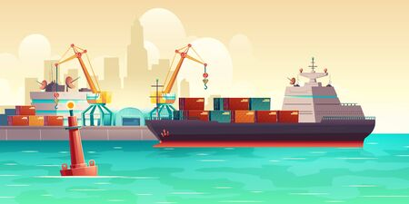 Cargo ship loading in city port. Cranes on dockside, pier unloading shipping containers from freight vessel to shore. Goods transportation, delivery with maritime transport cartoon vector background Banque d'images - 137872861