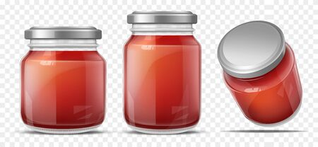 Tomato sauce canned in glass jars with screw metal lid, side, perspective view. Vegetables home preservation. Ketchup, taco or tomato juice conservation isolated, 3d realistic vector illustration set Stock fotó - 137872369