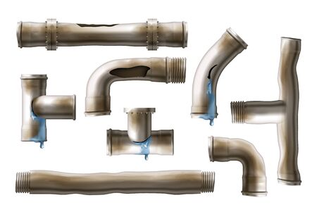 Old, rustic sewing pipes with water leaking from cracks and holes set. Damaged by corrosion water supply system metal pipeline bolted, fastened connections isolated, 3d realistic vector illustrations Banque d'images - 137879327