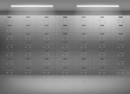 Cassette di sicurezza all'interno del caveau di una banca. Armadietti metallici, pareti di contenitori fissate individualmente per oggetti personali di valore immagazzinati in un'illustrazione vettoriale realistica 3d di una cassaforte sicura e protetta Vettoriali