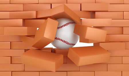 Brick wall destroying with baseball ball coming out of hole with red bricks falling down. Sports game championship or tournament announcement, demolishing building Realistic 3d vector illustration