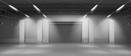 Empty industrial warehouse interior with concrete flooring, illuminating lamps on ceiling, rolling shatter gates. Delivery service storehouse, rental storage facility 3d realistic vector illustration Ilustração