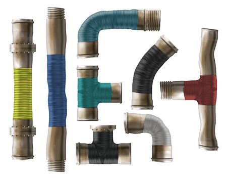 Old, rusty pipes rolled with color repair tape set. Damaged metal pipeline elements, repaired old tubes, water supply system leakage fix 3d realistic vector illustrations isolated on white background