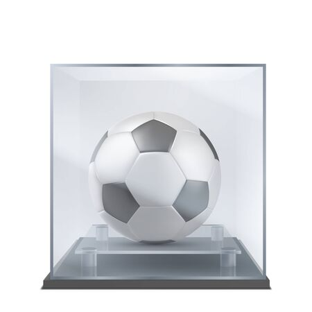 Soccer ball under glass case. Sport competition, championship trophy mock-up. Sport history, football team museum exposition showpiece 3d realistic vector illustration isolated on white background