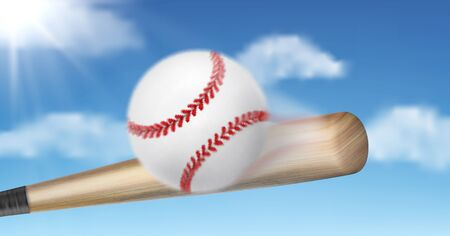 Baseball bat hitting, smashing ball on sunny, blue sky background. Team sport tournament or championship concept design. Outdoor activity, hobby leisure game inventory 3d realistic vector illustration