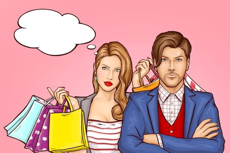 Couple returning from shopping concept. Satisfied young woman with shopping bags, paper packets in hands standing behind serious man. Husband upset because wife purchases pop art vector illustration