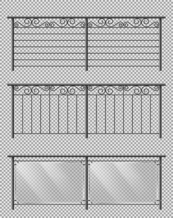 Metal, glass handrail or fencing sections set with forged steel, spiral decorative elements, metallic lattice and plexiglass sheets 3d realistic vector illustrations isolated on transparent background Illustration