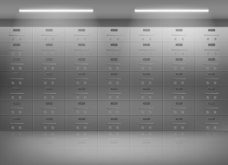 Safe deposit boxes inside bank vault. Metallic lockers, individually secured containers wall for personal valuable possessions storing in secured, protected strongroom 3d realistic vector illustration