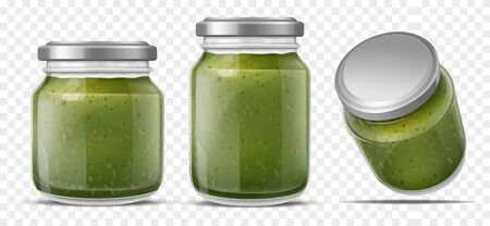 Pesto sauce canned in glass jars with screw metal lid, side, perspective view. Italian cuisine traditional dish home canning, bottling. Food product packaging isolated 3d realistic vector illustration