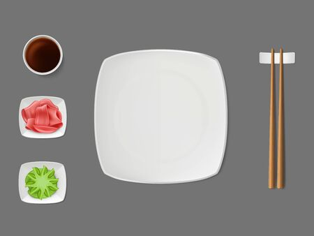 Sushi dishware, condiments set with empty square, white, ceramic plate, wooden chopsticks on stand, soy sauce, marinaded ginger, wasabi on saucers top view, isolated 3d realistic vector illustration