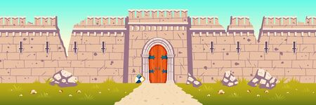 Medieval castle broken, ruined stone walls. Citadel after enemies attack or siege during war. Strong defence concept. Ancient fortress ruins with holes in wall, closed gate cartoon vector illustration 向量圖像
