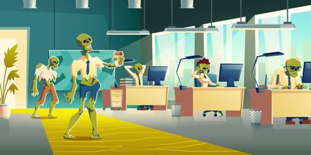 Exhausting office work concept. Female, male zombie characters in ragged clothing, working on computer, using cellphone at desks, walking with coffee cup in office interior cartoon vector illustration Stock fotó - 137896143